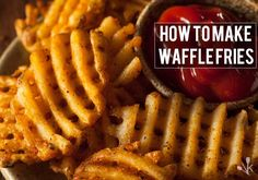 Learn how waffle fries are made and how to make waffle fries at home with a waffle fry cutter. Making waffle fries is easy with these simple steps. Homemade Fries, Homemade French Fries, Homemade Waffles, How To Make Waffles, How To Make Fries, Fried Potato Chips, Making French Fries, Sweet Potato Waffles, Restaurants