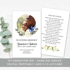 Prayer Cards Funeral Keepsake Printable Template customized with your personalized photo and prayer card wording. The floral memorial keepsake cards print as two sided, full color 2.5 x 4.25 cards.