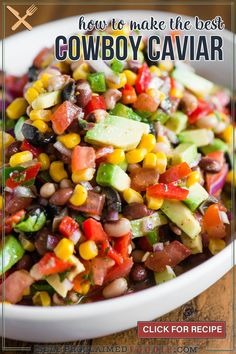 Cowboy Caviar, also known as Texas Caviar, is a cold salad recipe consisting of black eyed peas, a light vinaigrette dressing, and colorful vegetables! Potluck Recipes, Side Dish Recipes, Appetizer Recipes, Vegetarian Recipes, Side Dishes, Veggie Appetizers, Savory Salads, Healthy Salad Recipes, Healthy Snacks