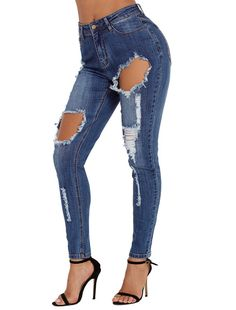 Shi Ying European and American women's new high-waisted hole XL long pencil feet jeans 786010 Cute Fall Outfits, Chic Outfits, Fashion Outfits, Fashion Wear, Ripped Skinny Jeans, Skinny Legs, Fall Collection, Denim Pants, Jeans Leggings