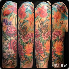 Flowers and butterfly's and flower tattoo full colour half sleeve lady tattoos inked lady female ink poppies by Jim DW