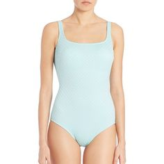 Gottex Swim One-Piece Square-Neck Tank Swimsuit ($68) ❤ liked on Polyvore featuring swimwear, one-piece swimsuits, apparel & accessories, mint, one piece bathing suits, maillot swimsuit, tank swimsuit, one piece tank swimsuit and one piece maillot swimsuits