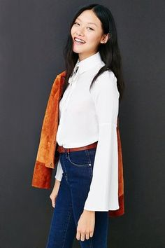 Oh My Love Bell Sleeve Button-Down Shirt - Shop for women's Shirt - WHITE Shirt