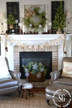 CHRISTMAS FARMHOUSE MANTEL-JOY banner in front of mantel-stonegableblog.com