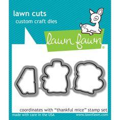 LF937  Lawn Cuts Custom Craft Dies Thankful Mice