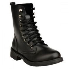 SHARE & Get it FREE | Metal Eyelet PU Leather Combat BootsFor Fashion Lovers…