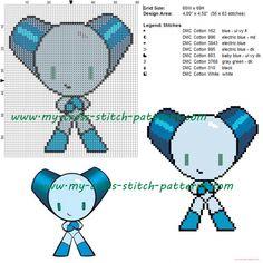 Robot Boy cross stitch pattern