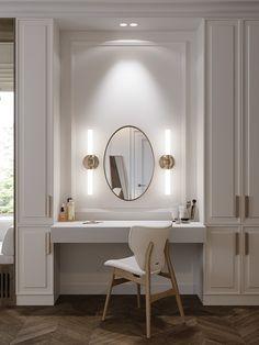 Bedroom Closet Design, Home Room Design, Bathroom Interior Design, Bedroom Decor, Dressing Table Design, Dressing Table In Bathroom, Built In Dressing Table, Luxurious Bedrooms, My New Room