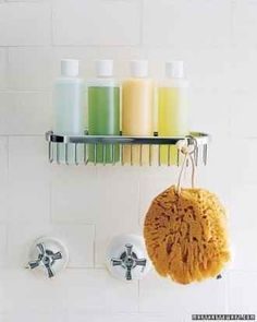 Replacing your weirdly sized shampoo and body wash bottles with uniform bottles will give an appearance of neatness.