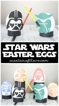 These Star Wars Easter Eggs are exactly what you were looking for! Free printable + tutorial for the lightsabers. Cool Easter Eggs, Making Easter Eggs, Easter Egg Crafts, Hoppy Easter, Pokemon Easter Eggs, Easter Hat Parade, Easter Egg Designs, Easter Ideas, Coloring Easter Eggs