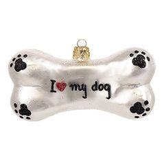 Nordstrom at Home 'I  My Dog' Handblown Glass Dog Bone Ornament (€17) ❤ liked on Polyvore featuring home, home decor, holiday decorations, white multi, hand made ornaments, glass heart ornaments, handmade ornaments, friendship ornaments and hand blown ornaments