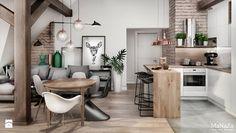 mieszkanie na poddaszu - Mały salon z kuchnią z jadalnią, styl skandynawski - zdjęcie od MaNaZa