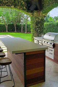 Outdoor Kitchen Design Ideas & Trends for 2020 : BBQGuys Rustic Outdoor Kitchens, Modern Outdoor Kitchen, Outdoor Kitchen Bars, Backyard Kitchen, Backyard Bar, Outdoor Rooms, Outdoor Living, Outdoor Furniture Sets, Outdoor Decor