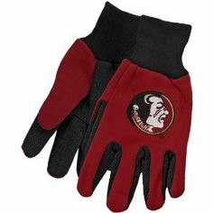 Florida State Seminoles NCAA All Purpose Utility Grip Gloves by McArthur. $5.95. One size fits most ages 13+. 2-Tone lightweight grip/utility gloves. Officially Licensed. Knit cuff, gripper palm. Embroidered logo. 2-Tone NCAA Team Grip Gloves