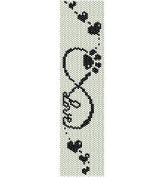 Schema peyote segno Infinito con scritta Love, impronta zampina cane e cuori (pdf per bracciale) di AntosCreations su Etsy