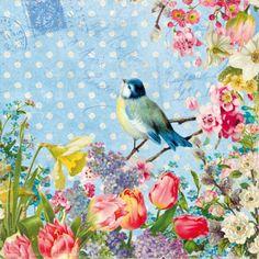 Serviettes vintage blue bird - Lot de 20