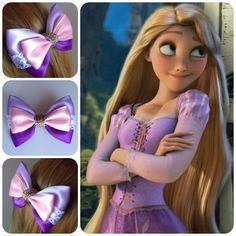 This would be perfect to go with N's rapunzel dress for disney! Diy Bow, Diy Ribbon, Ribbon Crafts, Ribbon Bows, Ribbons, Disney Hair Bows, Disney Outfits, Handmade Hair Bows, Bow Tutorial