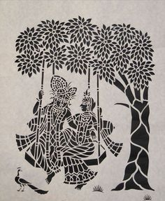"""Sanjhi Art of paper cutting - """"Sanjhi is not an art its a feeling and emotions… Doodle Art Drawing, Mandala Drawing, Art Drawings Sketches, Mandala Art, Paper Drawing, Drawing Ideas, Paper Art, Madhubani Art, Madhubani Painting"""