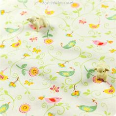 Buy cotton fabric - white Birds Fat Quarter FQ £3.25 | My Fabric House
