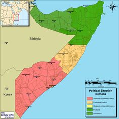 Área controlada pelo Al-Shabaab até (+-) 2011 em rosa.