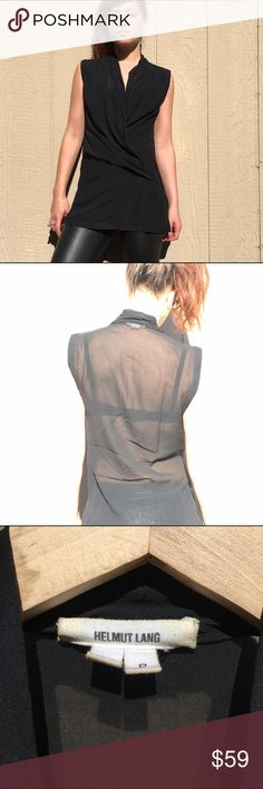 Helmut Lang silk sheer black blouse #Helmut Lang black sheer silk blouse. Drapes with elegance and style originally $280. Petite. Model is 160 cm however can fit taller girls Helmut Lang Tops Blouses