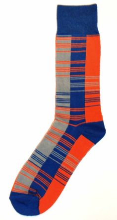 Orange Blue Grey Striped Blocks Mens Dress Sock - Unsimply Stitched