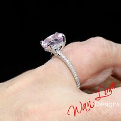 Light Pink Sapphire & Diamond Side Halo Oval Engagement Ring, Basket prongs, Rose White Gold, Custom, Wedding-Ready to Ship Sapphire Diamond, White Sapphire, Black Diamond, Emerald Green, Peach Champagne Sapphire, Or Rose, Rose Gold, Lemon Quartz, Rose Quartz