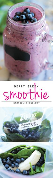 Berry Green Smoothie  http://damndelicious.net/2014/03/14/blueberry-green-smoothie/