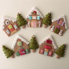 Felt gingerbread house baubles Gingerbread house Christmas tree decoration Gingerbread house ornaments with mini Christmas embroidery