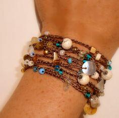Beaded Crochet Jewelry. Wrap bracelet. Crochet Lariat Rope Necklace, BEACH layers sea shell and semi precious stones beachy surfer chic. $44.00, via Etsy.