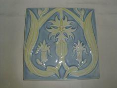 Jugendstilfliese - tile - Kachel - Original um 1900 - sehr schön !!
