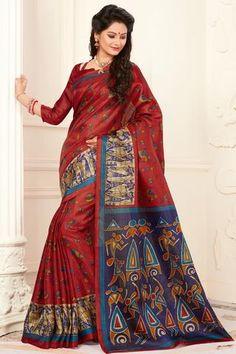 Maroon madhubani printed khadi semi silk saree