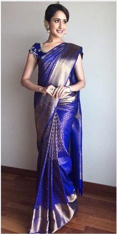 Telugu Actress Pragya Jaiswal Stills In Traditional Blue Saree Blue Silk Saree, Kanjivaram Sarees Silk, Indian Silk Sarees, South Silk Sarees, White Saree, Chiffon Saree, Wedding Saree Blouse Designs, Pattu Saree Blouse Designs, Half Saree Designs