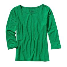 Patagonia Women's Necessity 3/4-Sleeved Shirt - Cut on the bias so it has a flattering drape, this quotidian top has 3/4-length sleeves, a boat neck and slight drop-tail hem