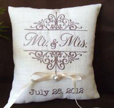 Mr & Mrs Monogrammed Ring Bearer Pillow RB102 by ElegantThreadsEtc, $32.95