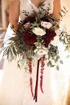 Bridal bouquet, wedding flowers, blush, gold, burgundy, Marsala, florals, boho organic lush style. Dahlias, garden roses, ranunculus #weddingbouquets