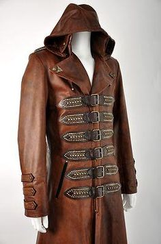I found 'IMPERO LONDON LEATHER NEW STEAMPUNK ANTIQUE TAN MENS HOODED COAT COSTUME' on Wish, check it out!