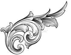 Designed by a hand engraver, this carefully drawn and highly detailed intertwining scrollwork can be used a number of ways. Easily change the scroll colors. Scale to any size without loss of quality. Filigrana Tattoo, Celtic Tatoo, Sculpture Ornementale, Motif Baroque, Molduras Vintage, Schrift Tattoos, Ornament Drawing, Leather Carving, Metal Engraving