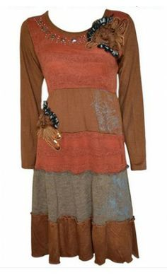 Womens multi fabric long sleeve dress with floral appliques! Apostolic Clothing #modest #dresses