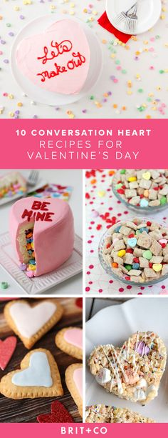 Bookmark these conversation heart-themed dessert recipes to whip up for Valentine's Day.