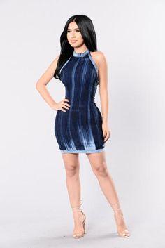 High Intensity Denim Dress - Acid Blue