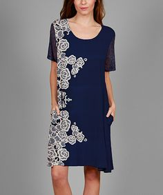 Another great find on #zulily! Simply Aster Navy & White Lace-Sleeve Floral-Panel Shift Dress - Plus by Simply Aster #zulilyfinds Beautiful  dress! But how this would  look on a Curvy  woman ,  who knows??!!!