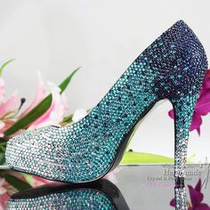 Sparkly Mixed Crystal High Heel Pumps Platform Teal Wedding Shoes Dance Shoes Dress Shoes Bridal Shoes From Crystalshoes4you, $167.54 | Dhgate.Com