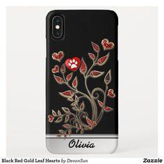 Black Red Gold Leaf Hearts Case-Mate iPhone Case