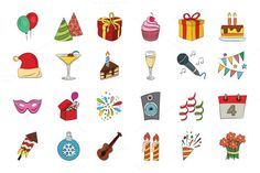 Celebration Hand Drawn Vector Icons by Creative Stall on Creative Market