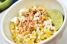 This side dish is a staple on the streets of Mexico. It's sold at food carts, served in cups usually, and it's a great way to serve up this season's corn. This is a spicy recipe so if you prefer less heat, remove the seeds and vein from the serrano pepper. If you're making this off season frozen corn is a fine substitute. Buen provecho!