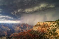 Monsoon Storm over the Grand Canyon by Luca Eugeni. August The photo shows an amazingly lit shelf rimming the rain core falling just east of what appears to be Bright Angel Canyon. All Nature, Amazing Nature, Nature Pics, Tornados, Thunderstorms, Great Pictures, Cool Photos, Beautiful World, Beautiful Places