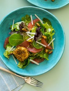 Grapefruit and Mixed Greens Salad with Pistachio Crusted Goat Cheese Rounds