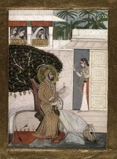 Equestrian portrait of Raja Raj Singh. The ruler's horse is wading through water as he approaches a woman's door with attendants looking on and a mango tree, heavy with fruit, nearby.       Manner/Style of: Bhavanidas.     Kishangarh Style,     Rajasthan School.  Date      1725.