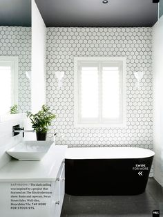 Love the white tile and dark grout Perfect for North wall of main hall bathroom